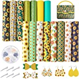 Pllieay 15 Pieces Sunflowers Printed Faux Leather Sheet Include 3 Kinds of Leather Fabric with Earring Hooks, Hair Clips…