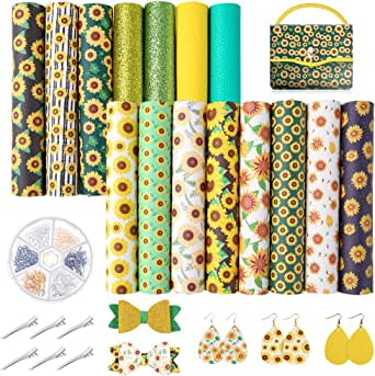 Pllieay 15 Pieces Sunflowers Printed Faux Leather Sheet Include 3 Kinds of Leather Fabric with Earring Hooks, Hair Clips for Making Hair Bows and Earrings (8.2 x 6.3 inch)