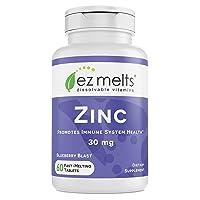 EZ Melts Zinc for Immune Support, 30 mg, Sublingual Vitamins, Vegan, Zero Sugar,...