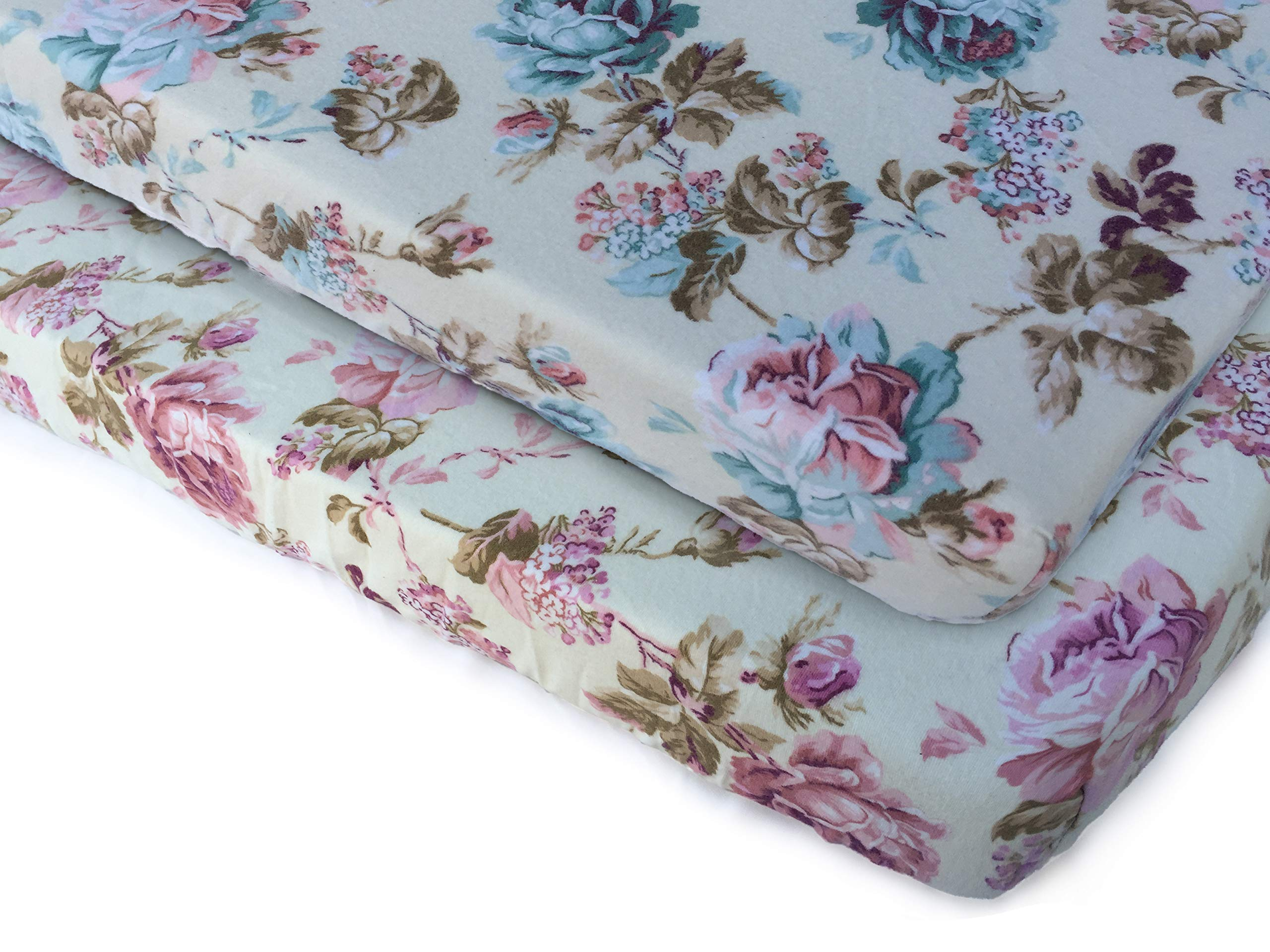 Pack N Play Playard Sheet Set-2 Pack 100% Premium Cotton Flannel,Super Soft, Fits Perfectly Any Standard Playard Mattress up to 3'' Thick, Vintage Roses