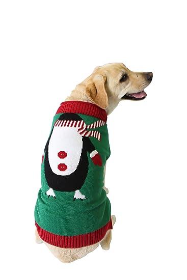 Amazon.com : Ugly Christmas Sweater Penguin Dog Sweater, Large ...