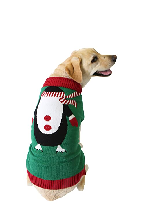 ugly christmas sweater penguin dog sweater large - Large Dog Christmas Sweaters