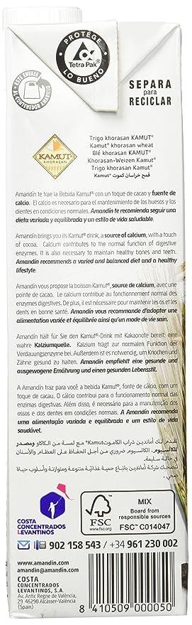Amandin Bebida de Kamut con Cacao - Paquete de 6 x 1000 ml ...