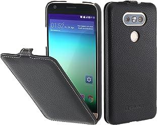 StilGut UltraSlim Case, Custodia in Pelle per LG G5, Nero