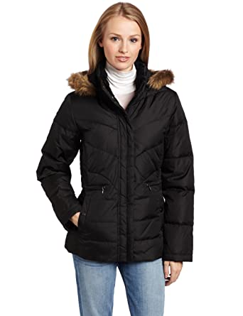 46066bda30f Amazon.com  LARRY LEVINE Women s Down Jacket with Faux Fur Trimmed ...
