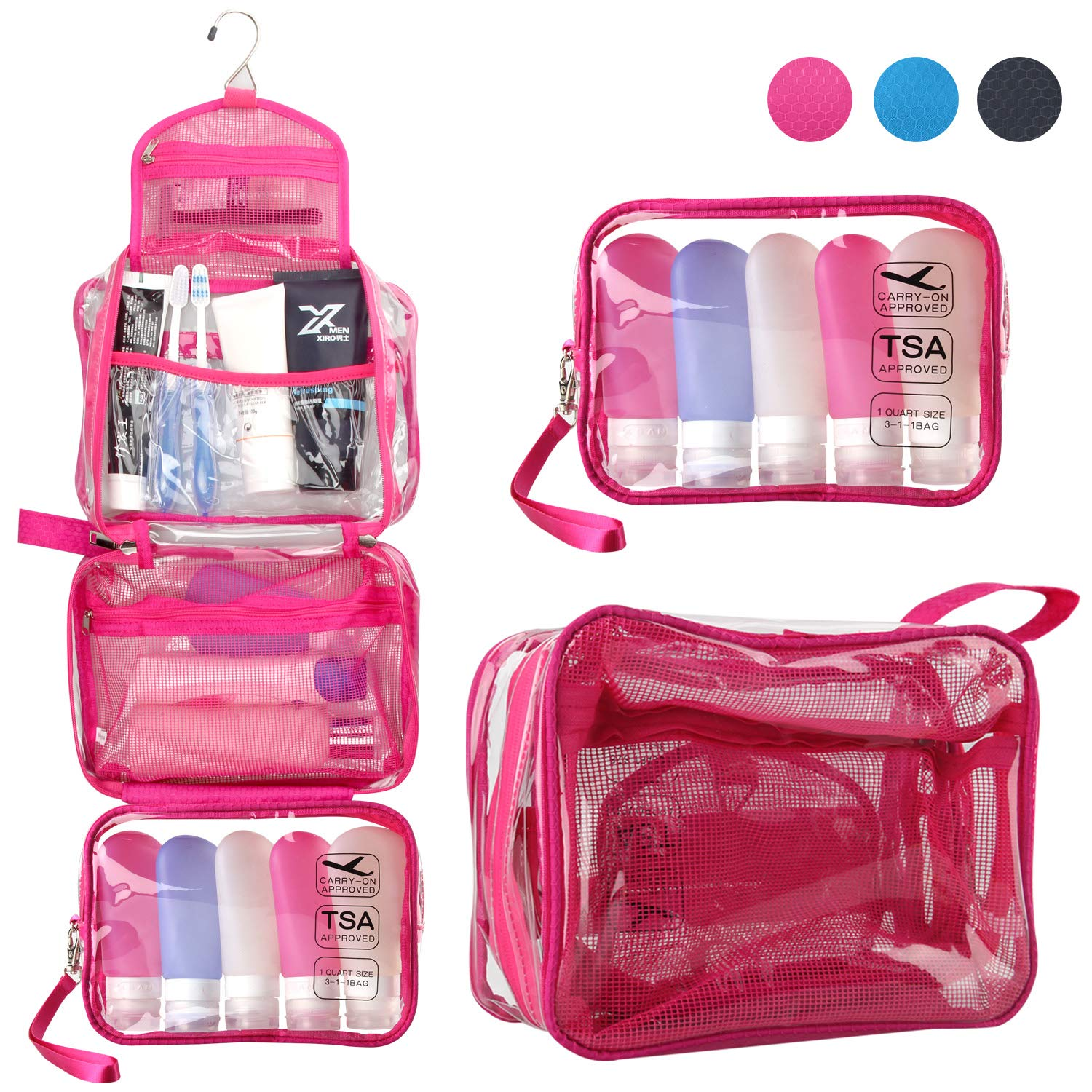 Toiletry Bag for Women, TSA Approved Clear Travel Hanging Toiletry Bag Detachable Small Bag Waterproof Carry On Airline 3-1-1 Compliant Bag Quart Sized Luggage Pouch Clear Hot Pink