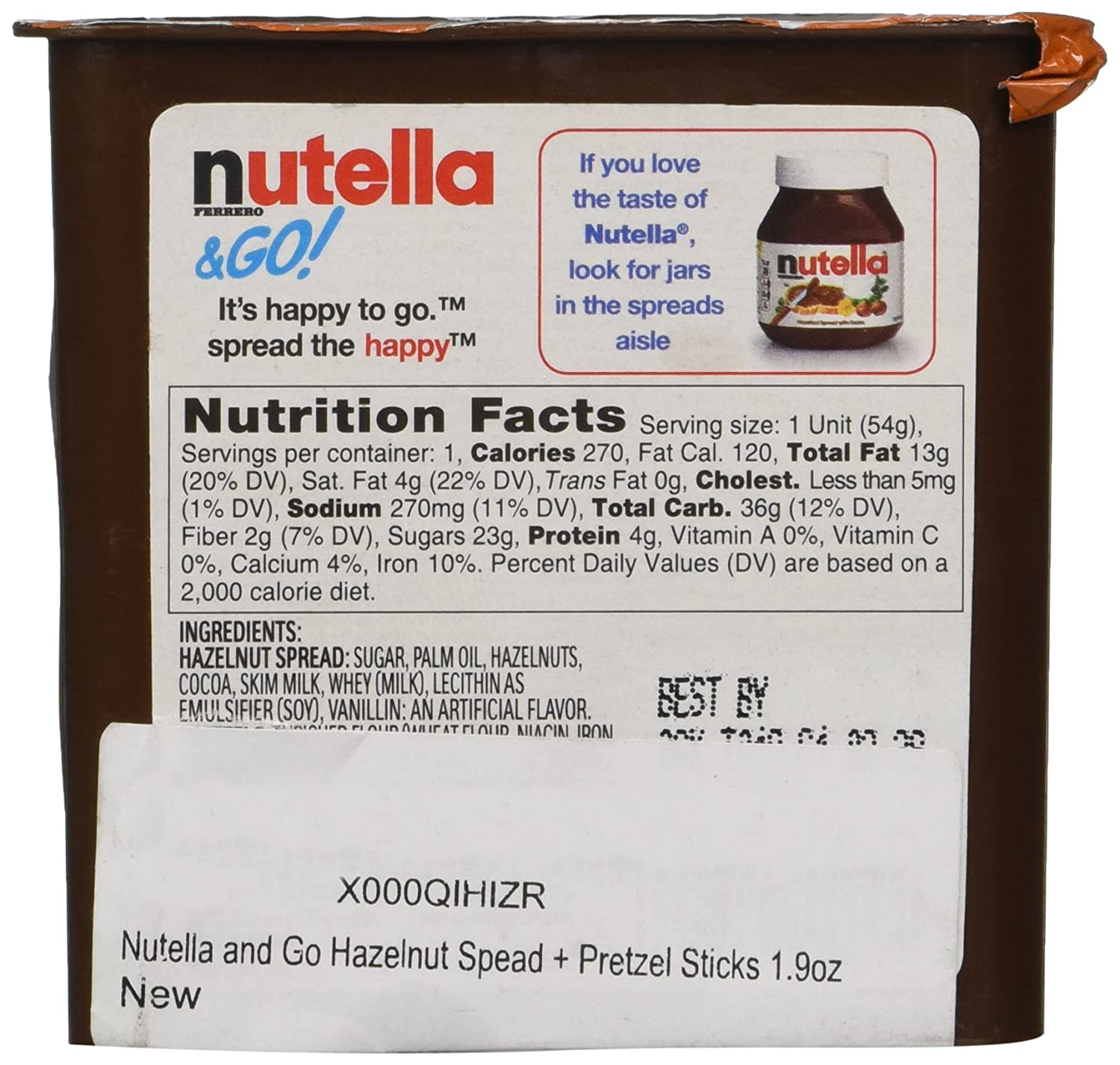 how many calories in nutella to go