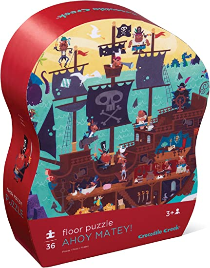 Crocodile Creek Ahoy Matey! Pirate Observation 36Piece Floor Puzzle in Shaped Box Puzzle