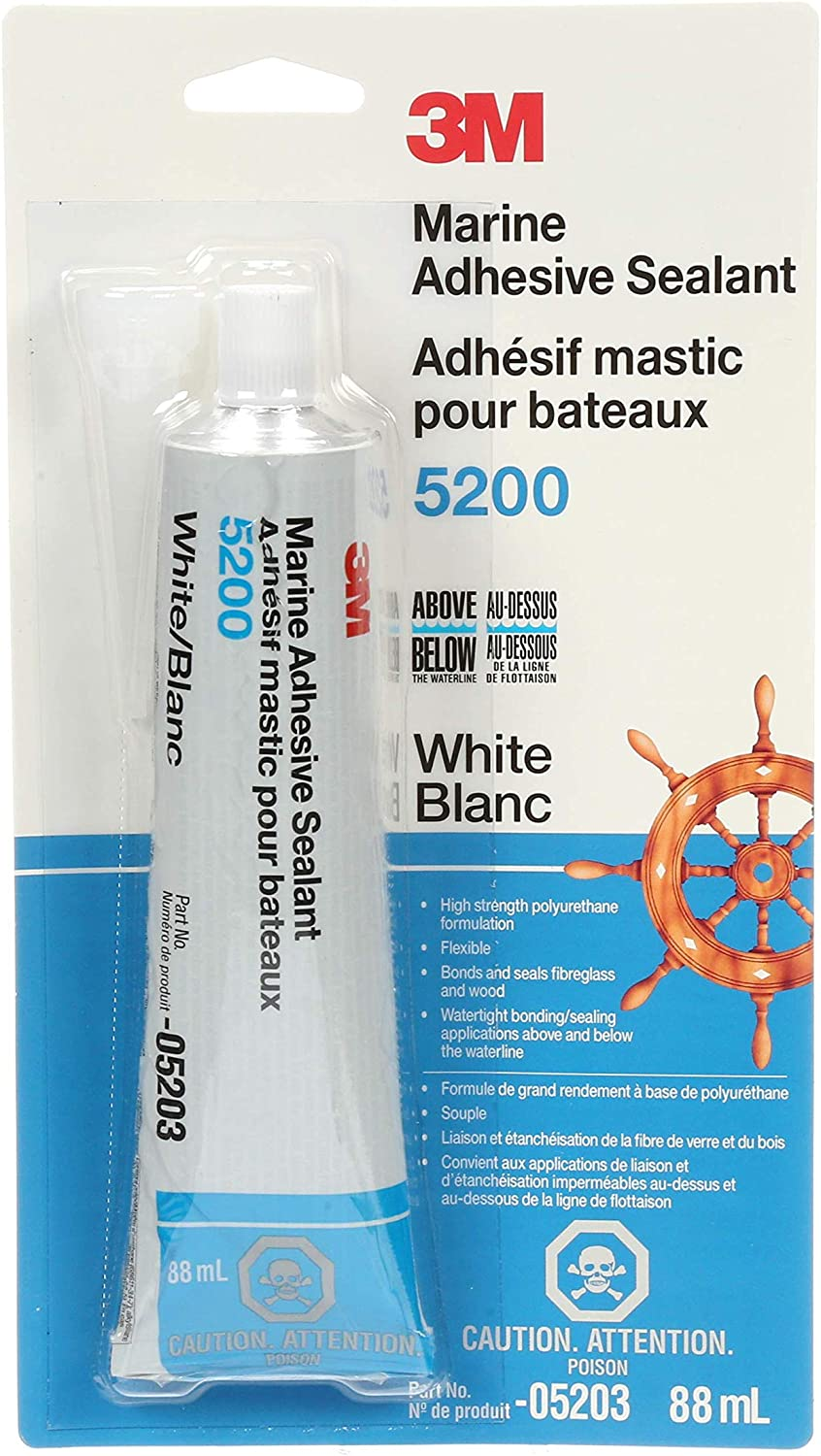 B0000AY6AO 3M Marine Adhesive Sealant 5200 (05203) – Permanent Bonding and Sealing for Boats and RVs – White – 3 Ounces 81OQoNQmzuL