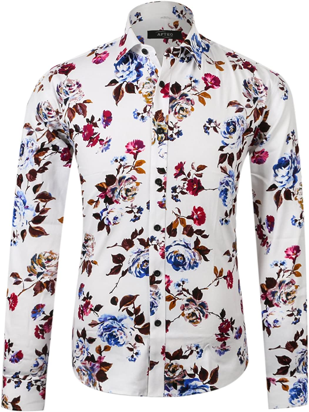 APTRO Men's Floral Shirt Slim Fit Casual Long Sleeve Shirt