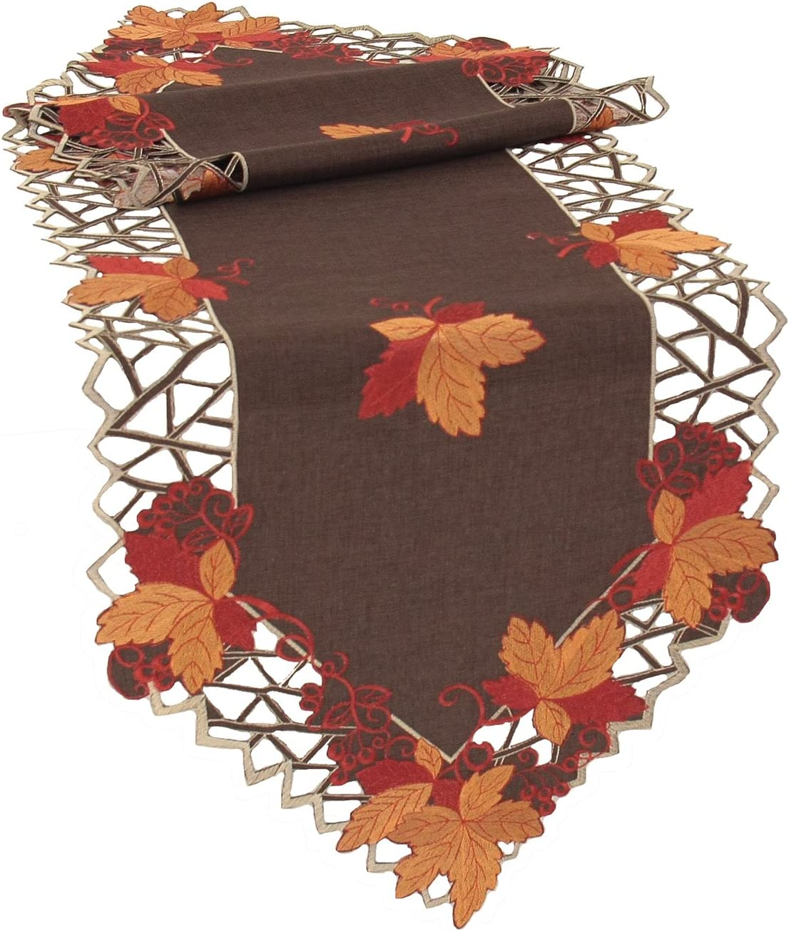 Xia Home Fashions Harvest Hues Embroidered Cutwork Fall Table Runner, 15 by 54-Inch