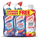 Harpic Toilet Cleaner Liquid Limescale Remover, Original, 750 ml, Pack of 2 and Bathroom Cleaner, Lemon, 500 ml