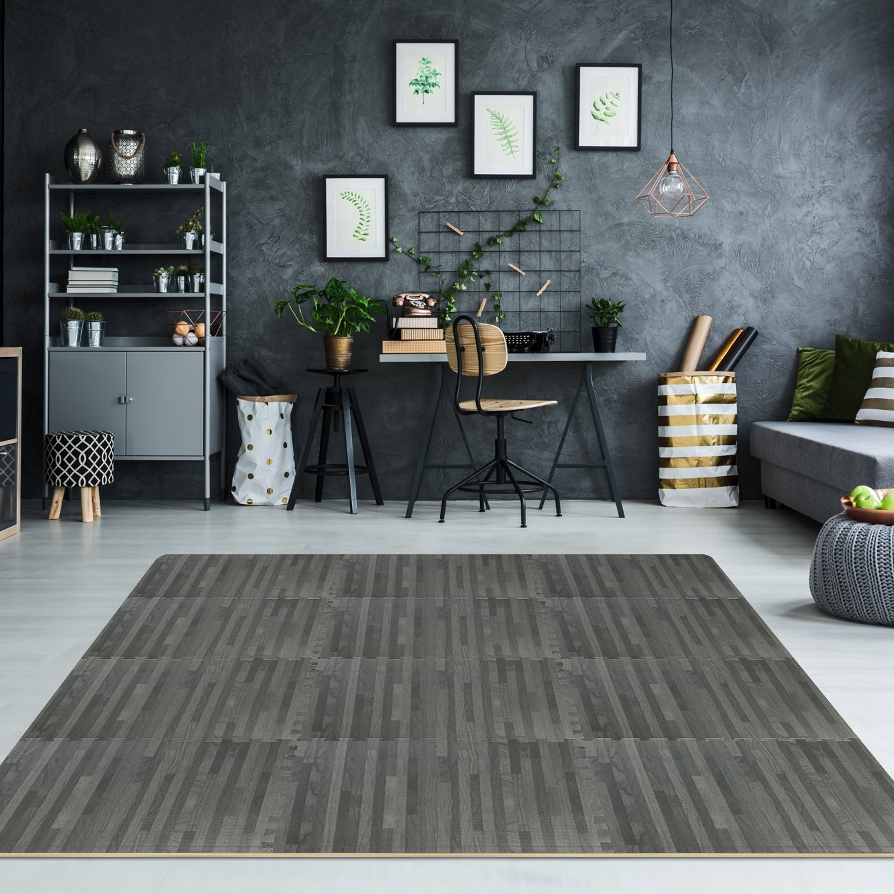 Sorbus Wood Floor Mats Foam Interlocking Wood Mats Each Tile 4 Square Feet 3/8-Inch Thick Puzzle Wood Tiles with Borders – for Home Office Playroom Basement (6 Tiles 24 Sq ft, Wood Grain - Gray) by Sorbus (Image #3)