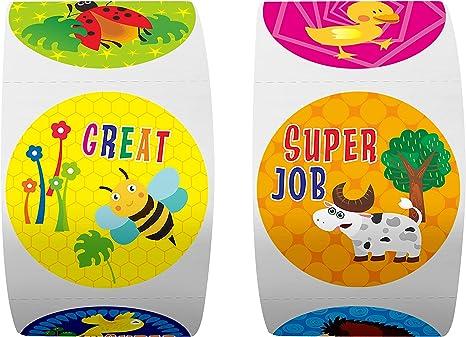 Expanded Version with 1.5 Diameter 600 Animal Teacher Reward Encouragement Motivational Sticker in 16 Designs .