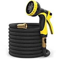100 ft Hose - Expandable Garden Hose - Heavy Duty Flexible Hose - Water Hose with 9-Pattern Spray Nozzle and Hose Storage Bag (3-Piece Set). Kink and Tangle-Free Lawn and Plant Watering System