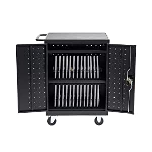 Pearington 32 Device Mobile Charging and Storage Cart for iPads, Chromebooks and Laptop Computers, Up to 13-inch Screen Size, Surge Protection, Front & Back Access Locking Cabinet