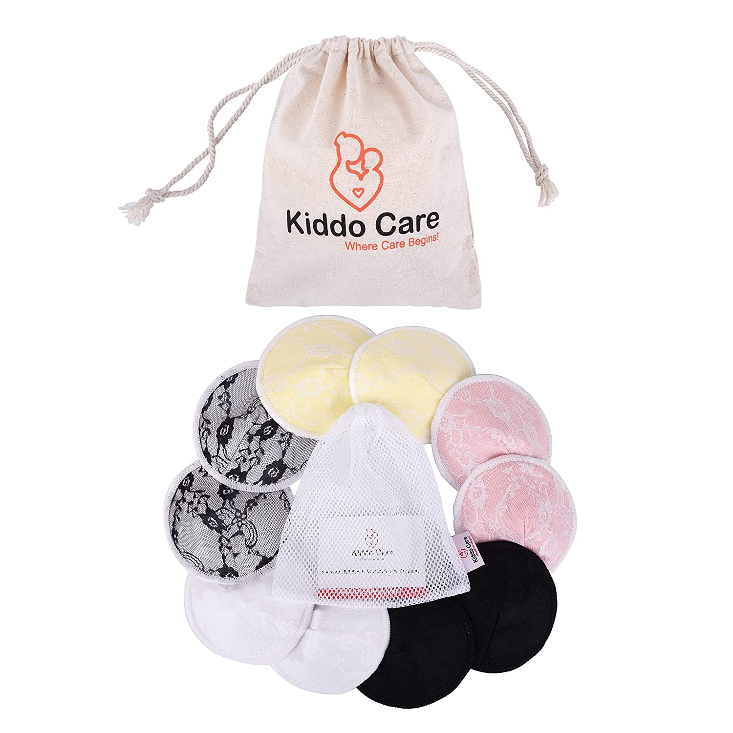 Hypoallergenic Breastfeeding Pads Kiddo Care Washable Nursing Pads Reusable Breast Pads Leak-Proof and Waterproof Contoured Design Absorbent Pads Bra Pads Ultra Soft 5 Pairs