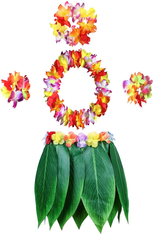 5 PCS Set Flower Adult Costume Hawaiian Lei Grass Skirt Garland Straw Hula Set