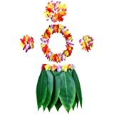 KEFAN Leaf Hula Skirt and Hawaiian Leis Set Grass Skirt with Artificial Hibiscus Flowers for Hula Costume and Beach Party
