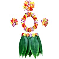 KEFAN Leaf Hula Skirt and Hawaiian Leis Set Grass Skirt with Artificial Hibiscus Flowers for Hula Costume and Beach…