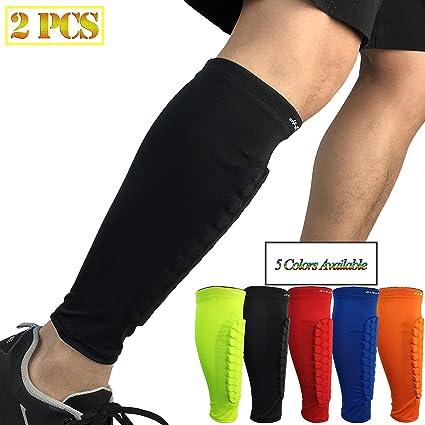 b3c5311b54 HiRui Calf Compression Sleeve,Shin Guards for Soccer Calf Brace Honeycomb  Crashproof Calf Pads for
