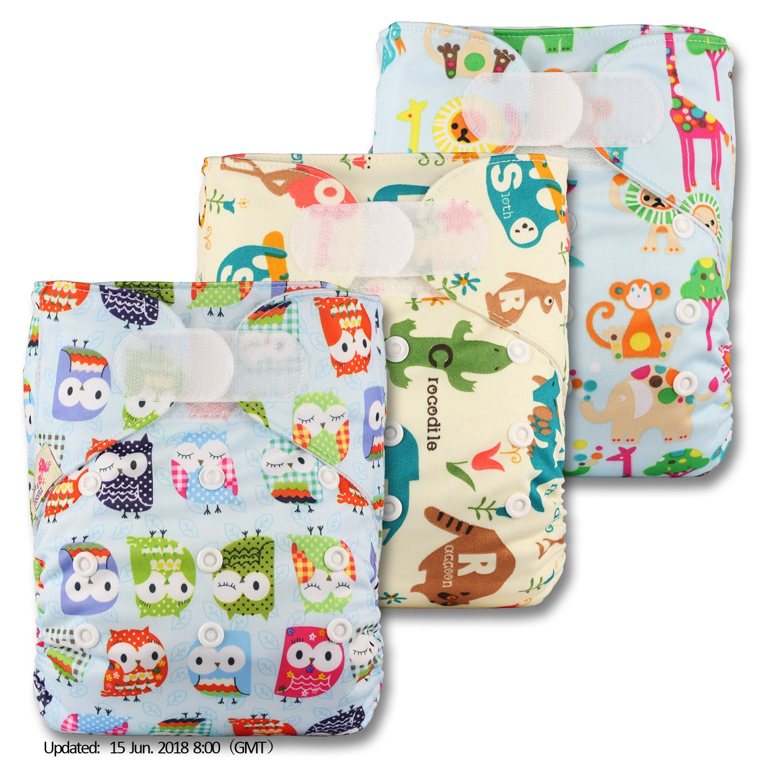Littles & Bloomz, Reusable Pocket Cloth Nappy, Fastener: Hook-Loop, Set of 3, Patterns 309, Without Insert