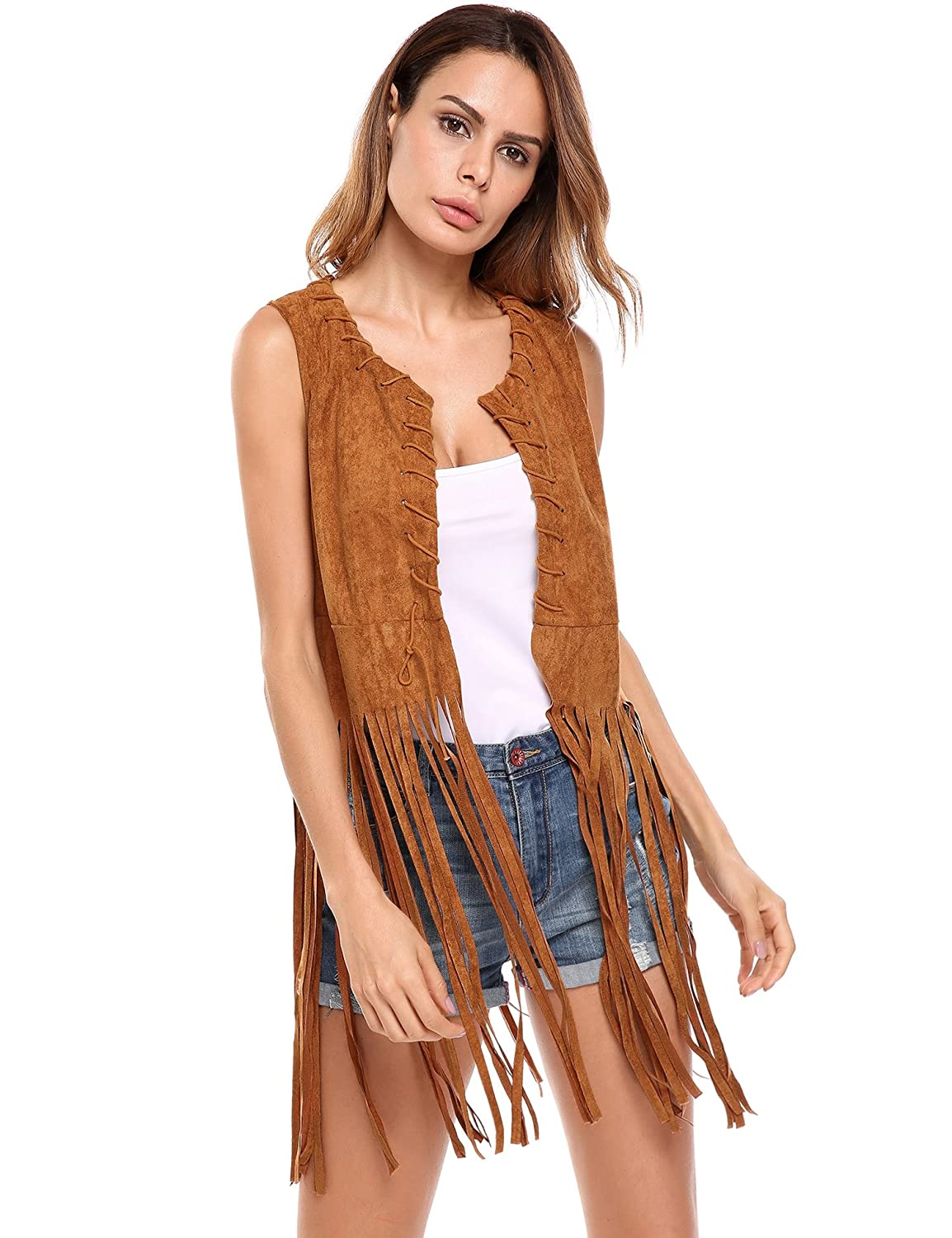 HOTOUCH Women Open-Front Faux Suede Sleeveless Tassels Vest Cardigan Female BXH000181