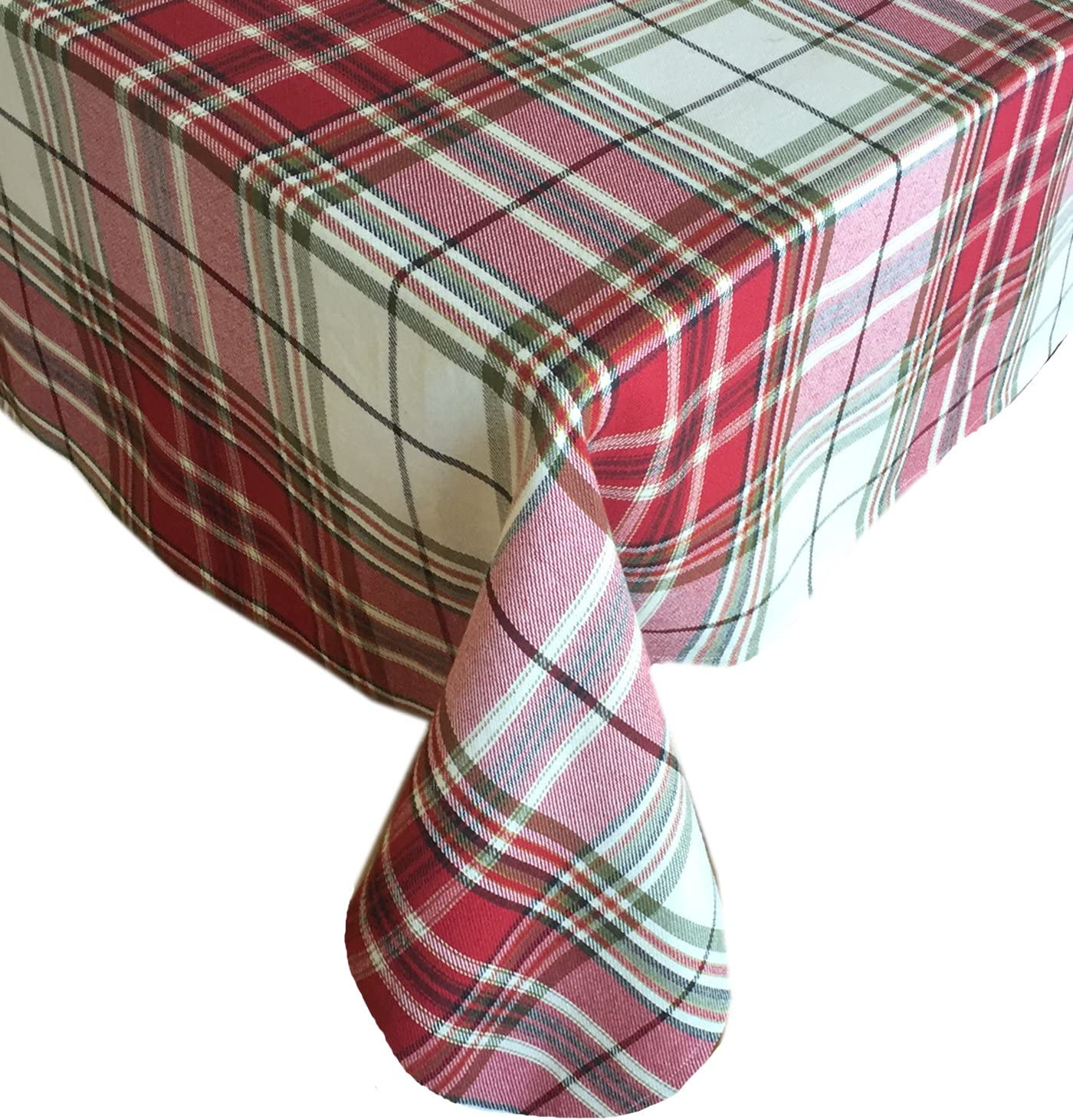 Sully Tartan Christmas Plaid Fabric Tablecloth 100 Woven Cotton Holiday Tablecloth 60 X 102 Oblong Rectangle Kitchen Dining