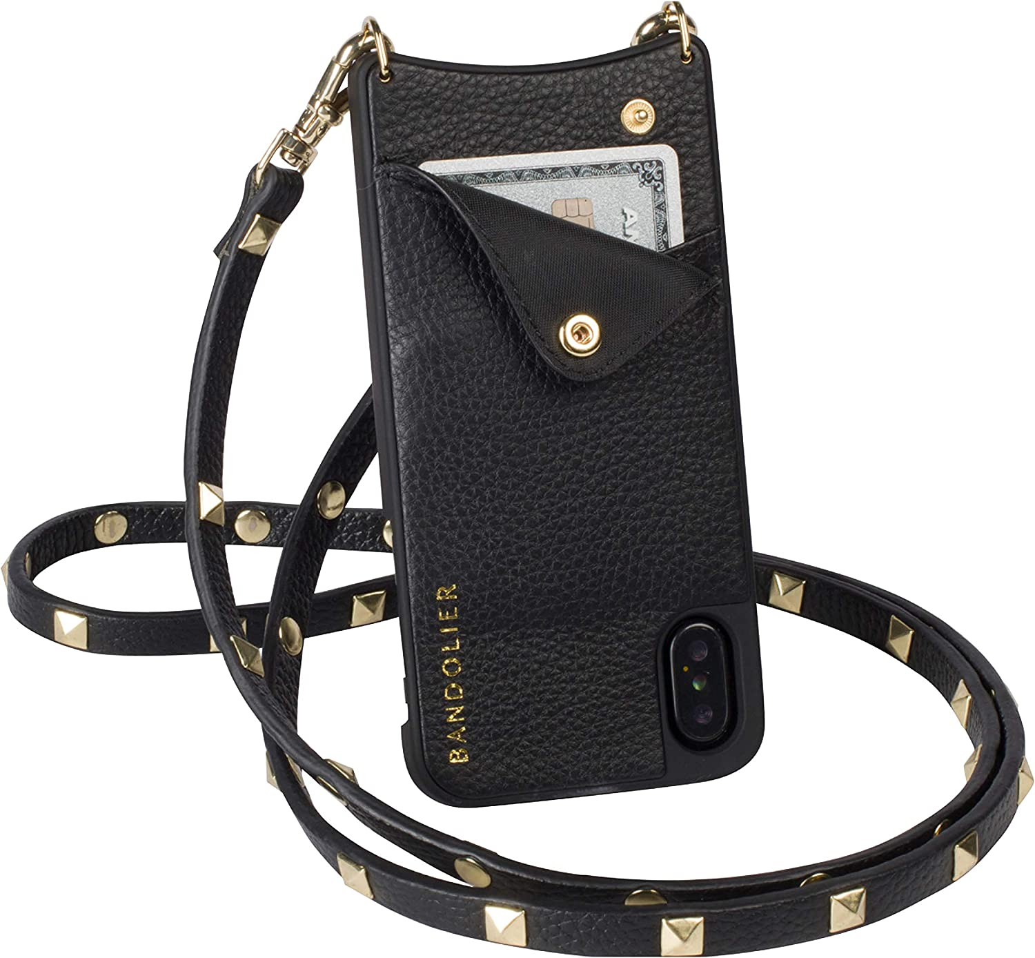 Bandolier Sarah Crossbody Phone Case and Wallet - Black Leather With Gold Detail - Compatible With iPhone XS Max Only