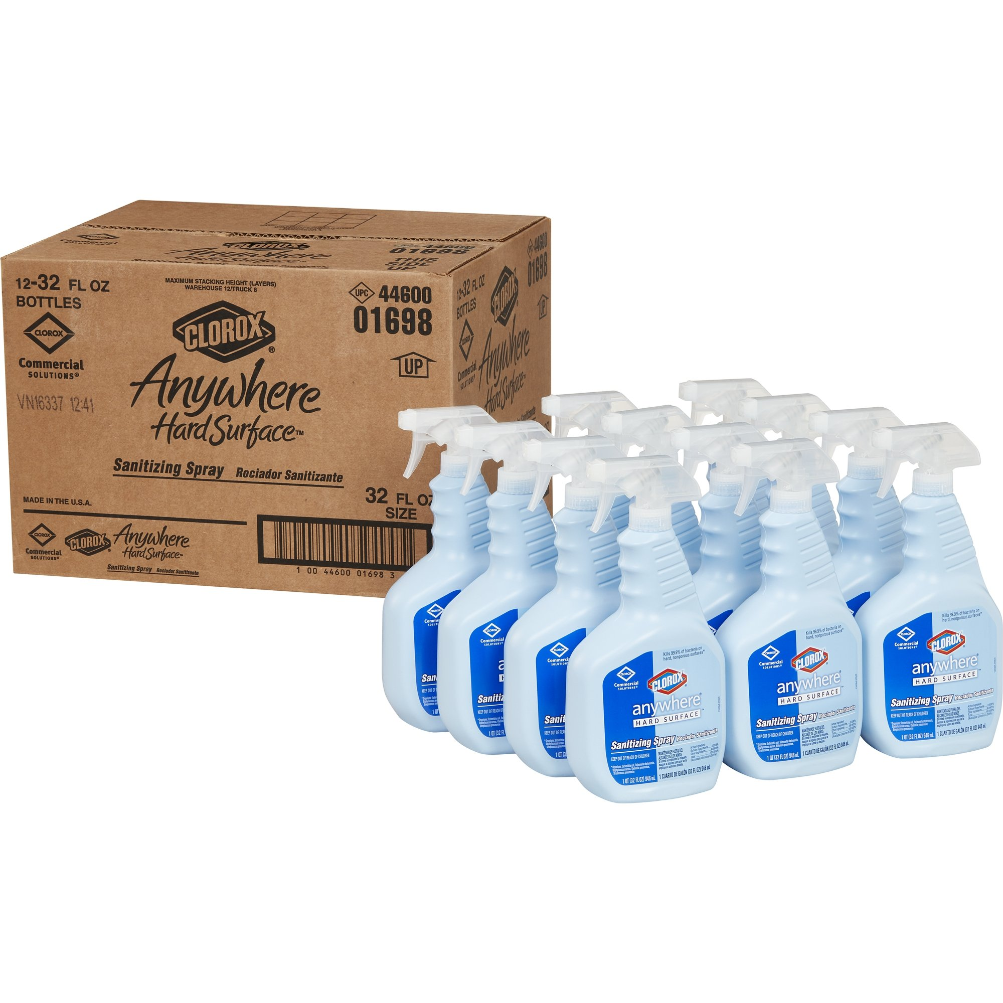 Clorox CLO 01698 32 oz Anywhere Hard Surface Sanitizing Spray Bottle