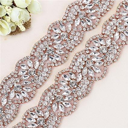 Amazon.com: Rose Gold Wide Bridal Wedding Dress Sash XINFANGXIU Belt ...