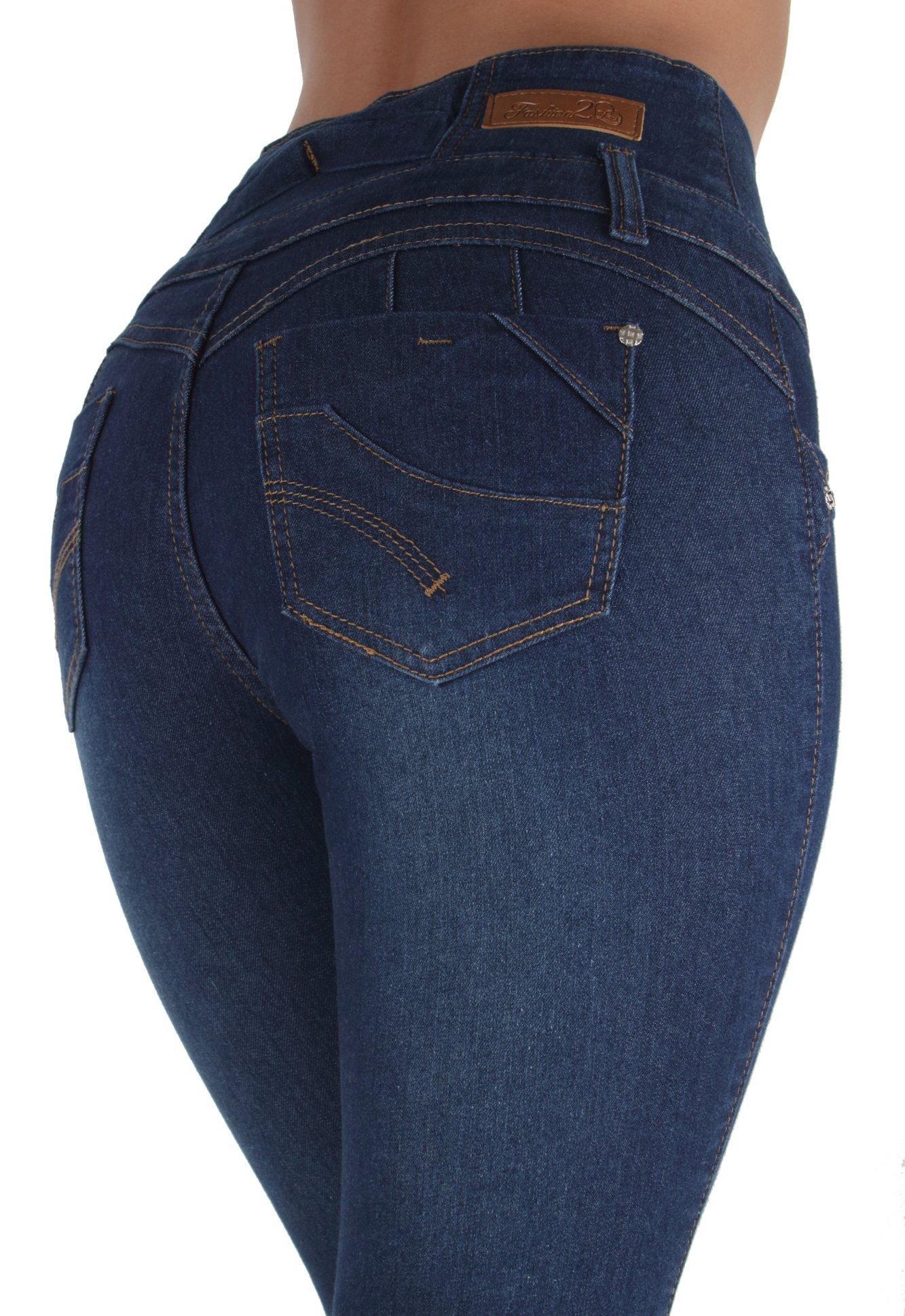 Fashion2Love LS8-88711S– Colombian Design, Butt Lift, Levanta Cola, High Waist, Skinny Jeans in Dark Blue Size 9