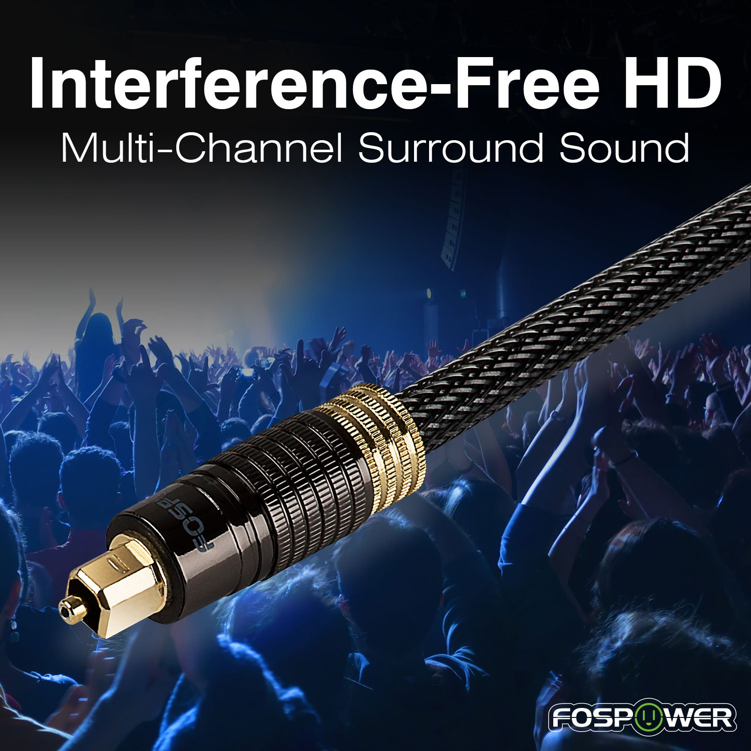 FosPower (25 Feet) 24K Gold Plated Toslink Digital Optical Audio Cable (S/PDIF) - [Zero RFI & EMI Interference] Metal Connectors & Ultra Durable Nylon Braided Jacket by FosPower (Image #3)