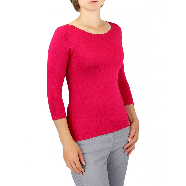 57dc3429c9cd87 Damen 3 4 Arm Shirt Longsleeve Basic Shirt Rundhals Stretch-Viskose Bunte  Farben  größeres Bild