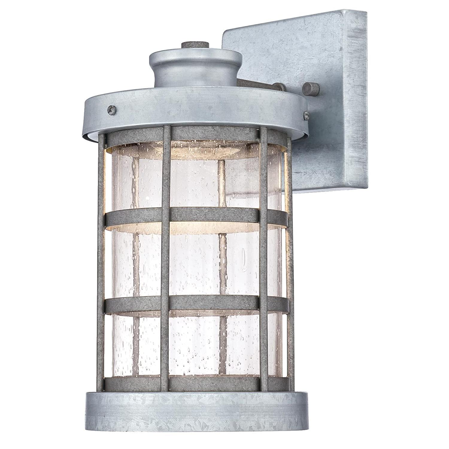 Westinghouse Lighting 6347800 Barkley One-Light LED Outdoor Wall Fixture, Galvanized Steel Finish with Clear Seeded Glass