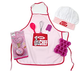 Kit de pâtisserie enfants Junior Chef rose avec tablier, toque ...