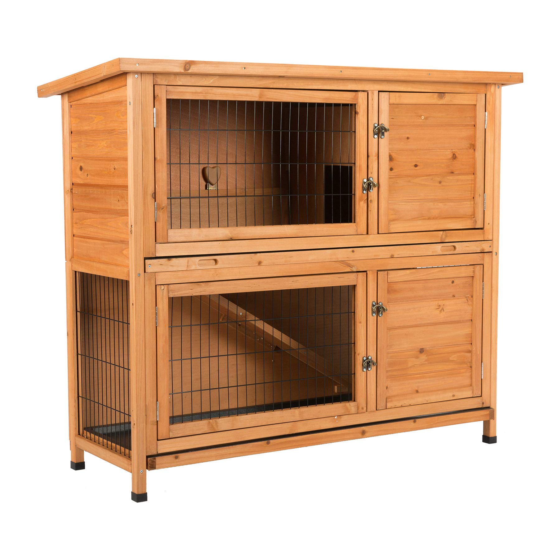 CO-Z 2 Story Outdoor Wooden Bunny Cage Rabbit Hutch Guinea Pig House in Nature Color with Ladder for Small Animals by CO-Z (Image #9)