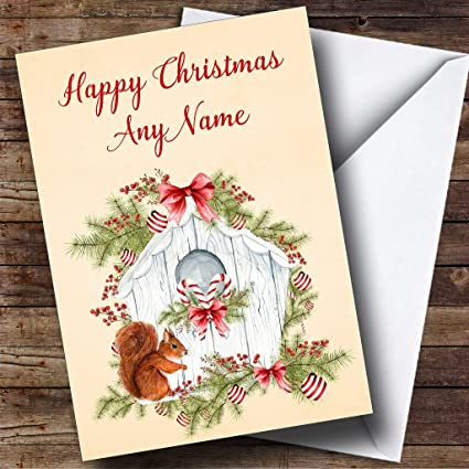 Amazon squirrel birdhouse personalized christmas holiday squirrel birdhouse personalized christmas holiday greetings card m4hsunfo