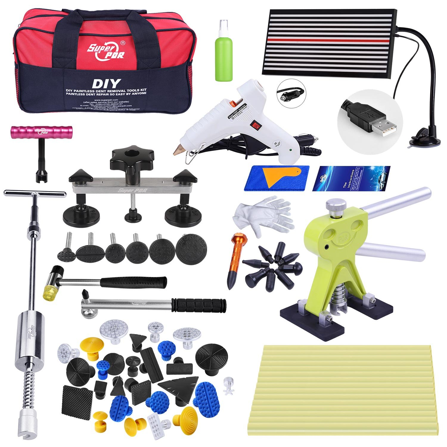 Fly5D 45pcs DIY Paintless Auto Car Truck Dent Repair Remover Tools Dent Removal Puller Kit for Home Use Stainless Steel Door Hail Damage Pops a Dent Tools Set