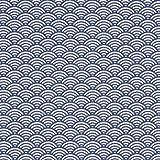 Tissu coton cretonne vague japonaise - Bleu
