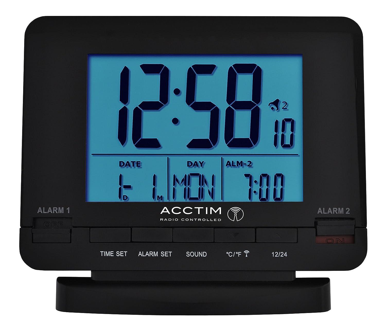 Acctim Delaware Stylish Radio Controlled Dual Alarm Clock Calender ...