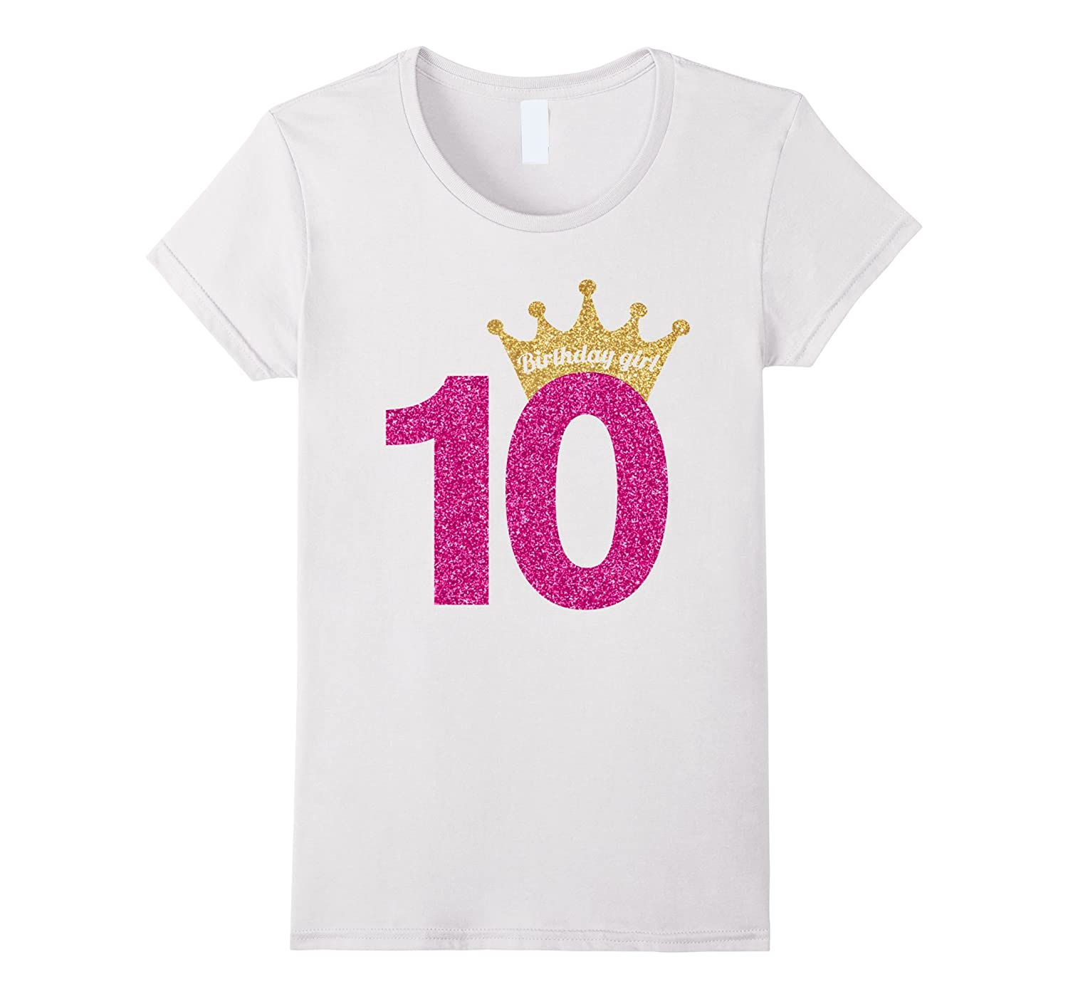 10th Birthday Girl Pink Glitter Inspired Princess T-Shirt-Art