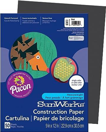 100 Sheets SunWorks Construction Paper Black 9 x 12