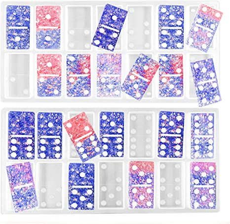 2 Pack Domino Resin Molds,28 Cavities with Dots Epoxy Resin Casting Molds,Double 6 Dominoes Game Silicone Mold,2pcs Silicone Domino Game Molds with a Storage Bag