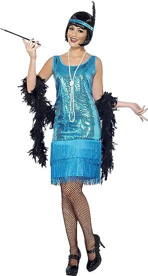 Smiffys Disfraz de Chica Joven Coqueta años 20, con Vestido Azul ...