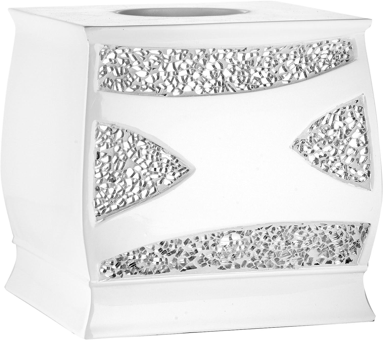 Popular Bath Sinatra Silver Collection Bathroom Tissue Box Cover