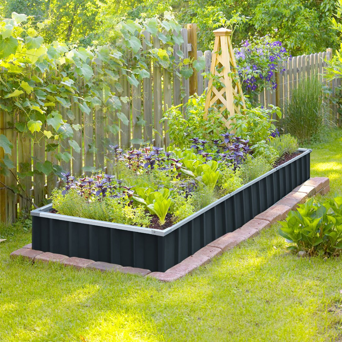 King Bird Extra Thick 2 Ply Reinforced Card Frame Raised Garden Bed Galvanized Steel Metal Planter Kit Box Green 68 X 36 X 12 With 8pcs T Types Tag 2 Pairs Of Gloves Grey Mk