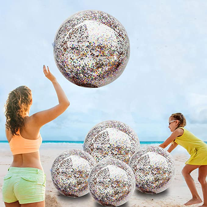 3 Pieces 16 Inch Inflatable Glitter Beach Ball Sequin Beach Ball Confetti Beach Balls Swimming Pool Party Balls Pink Beach Sand Balls for Adult Kids Summer Pool Party