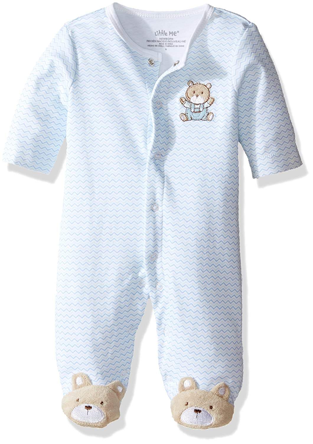 Little Me Baby Boys' Chevron Teddy Bear Footie, Light Blue, 3 Months LBQ03009N