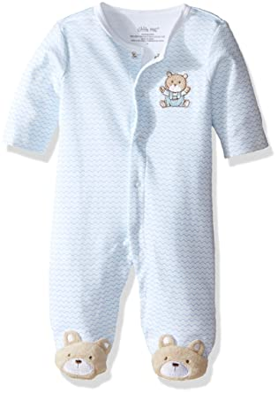 b9732ec95 Little Me Baby Boys' Chevron Teddy Bear Footie, Light Blue, 3 Months